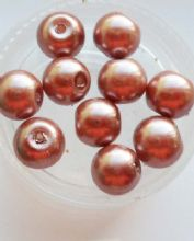 Pearl Glass 8mm Beads. Brown x 10